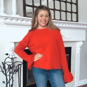J.Crew Bright Red Ruffle Sleeve  Knit Sweater